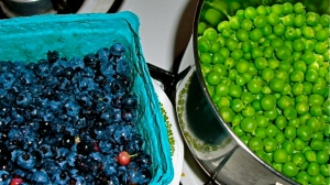 Wild Maine blueberries and freshly shucked local peas.