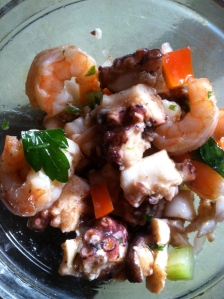 octopus and shrimp salad