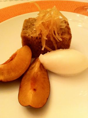 Young ginger cake with plums and lemon sorbet. Photo by Jennifer Harington Brizzi