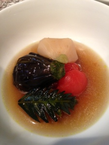 Eggplant, turnip, tomato, and squash simmered in broth. Photo by Hiroko Shimbo
