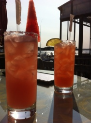 Watermelon margarita and blood orange margarita at FishBar, Montauk.