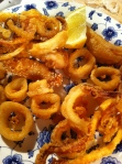 Fried calamari with a variety of coatings: masa harina, flour, flour and grits.
